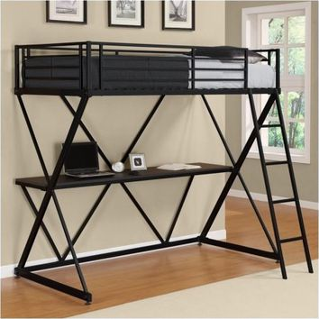 Pemberly Row X Shaped Metal Twin Loft Bed in Black with Desk - Walmart.com