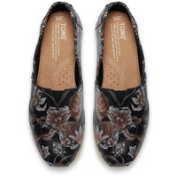Black Leather Printed Floral Women's Classics