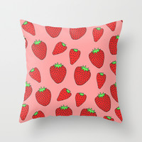 Strawberry Delight Throw Pillow by Saif Chowdhury