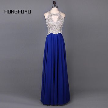 HONGFUYU New Royal Blue Long Prom Dresses 2017 Stunning Beads Sequined Sheer Corset A Line Chiffon Draped Women Party Dress4011