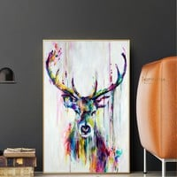Watercolor Animals Pop Wall Art Canvas Prints And Posters Abstract Deer Modern Decorative Picture For Living Room Children Room