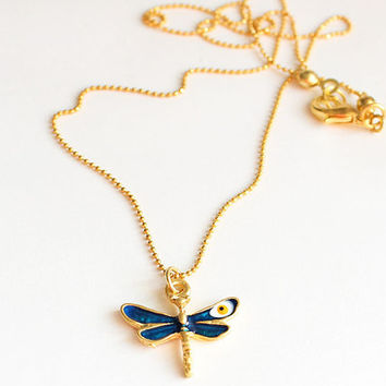 Evil eye dragonfly necklace enamel dragonfly gold plated chain dainty necklace istanbul turkey best friend birthday gift christmas