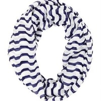 Striped Infinity Scarf by Charlotte Russe - Navy