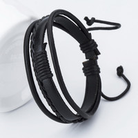 Good price! New Fashion Anchor Leather Men's Bracelets Popular Bangle DIY Handmade Weave Charm Black Bracelets Pulseras!