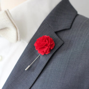 Red Cotton Carnation lapel flower boutonniere, Harrison Ford style, mens boutonniere, groomsmen lapel pin, mens lapel flower