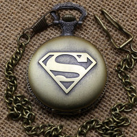 Vintage Bronze Superman Power Cartoon Logo Long Chain Necklace Pocket Watch = 1945950020