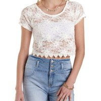 Lace Crop Top with Crochet Hem by Charlotte Russe