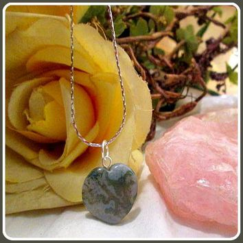 """In Abundance"" Moss Agate Heart Necklace"