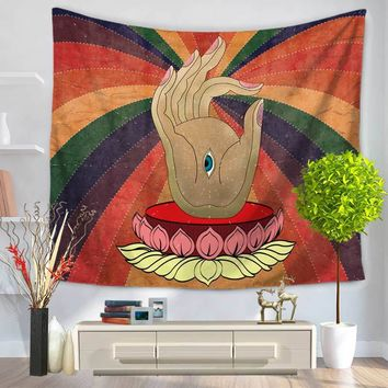 CAMMITEVER Hand Eye Lotus Indian Mandala Tapestry Hippie Hippy Wall Hanging Throw Bedspread Tapestry Decorative Wall Hanging