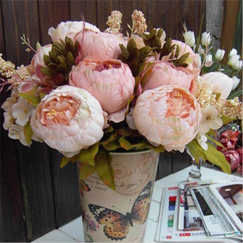 New High Quality Silk Flower European Artificial Flowers Fall Vivid Peony Fake Leaf Wedding Home Party Decoration #91117