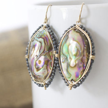 Abalone Earrings, Long earrings, Shell Earrings