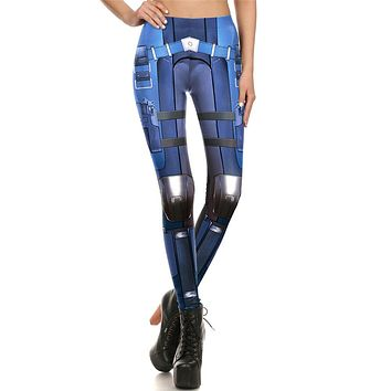 Hero Armor Women's Blue Slim High Waisted Elastic Printed Fitness Workout Leggings