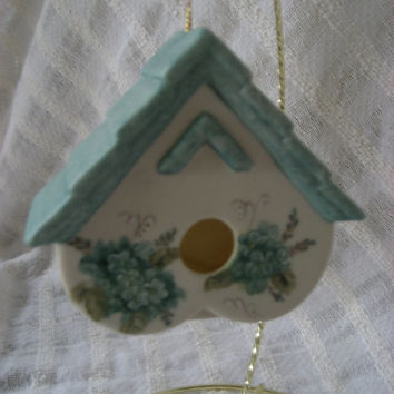 Ornament Birdhouse Aqua Blue Gift Item for the Holidays Porcelain ceramic Pottery Hand painted  and Kiln fired by B Marsh