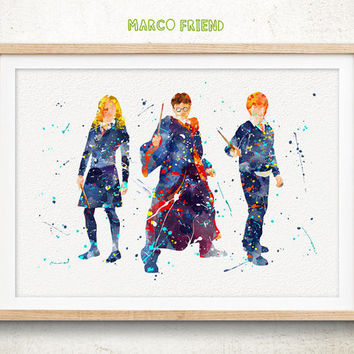 Harry Potter, Ron Weasley, Hermione Granger - Watercolor, Art Print, Home Wall decor, Watercolor Print, Harry Potter Poster