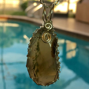 Natural Prehnite with Epidote Gemstone Pendant 2 Inches Long Wrapped in Non Tarnish Silver Wire on 18.5 Inch Silver Chain, One of a Kind