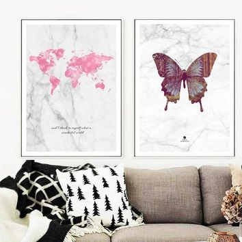 Unframed Nordic Butterfly Scenery Pink World Map Cartoon Canvas Painting Wall Art Marble Pictures For Living Room Decor Posters