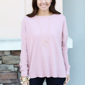 Piko Ribbed Top - Pink