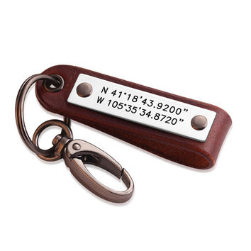 Personalized Leather Coordinates Key Chain - Latitude Longitude Keychain - Gift for Love