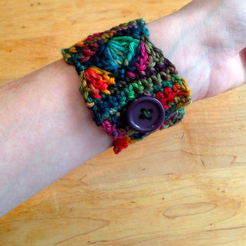 Crochet Jewelry Cuff Bracelet with Button - Rainforest, Rainbow, Nature Colors - Holiday Gift, Stocking Stuffer, Gifts Under 10