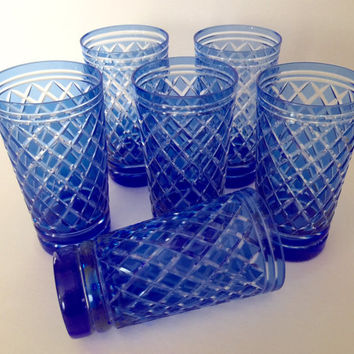 Stunning Set Of 6 Czech Cobalt Crystal Cut To Clear High balls Water Glasses