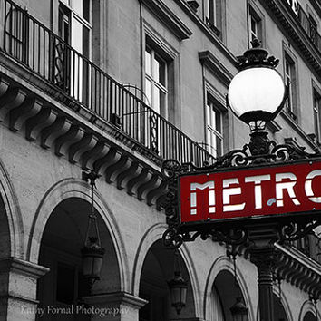 Paris Photography, Red Metro Sign Street Lamp Print, Paris Black and White Photography, Paris Metro Black White Red Metro Sign Photography