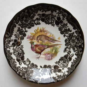 Vintage Brown Transferware Plate Aubergine Pheasants and Roses Game Series Autumn Decor Game Birds