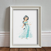 Jasmine, Aladdin WATERCOLOR Art illustration, Disney Princess, Wall Art, Nursery, Digital Poster Print, INSTANT DOWNLOAD