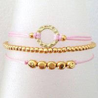 Triple Gold and Pink Friendship Bracelet with Adjustable Cord