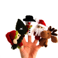 christmas puppets, snowman, reindeer, elf, Saint Nicholas and christmas tree, toy for christmas