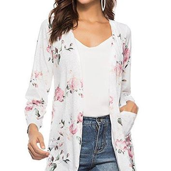 CEASIKERY Women's Floral Kimono Cardigans Casual Tops Loose Blouse Boho Wrap