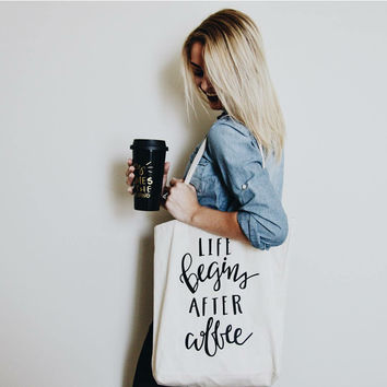 Life Begins with Coffee Tote Bag