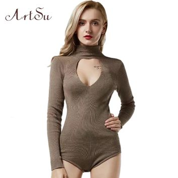 ArtSu Knitted Turtleneck Bodysuit Women Body Long Sleeve Jumpsuit Romper Winter Casual Overalls Sexy Cut Out Catsuit ASJU30194