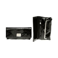 KENNETH COLE REACTION Patent Crinkled Fold-Over Clutch [187829/899], Black