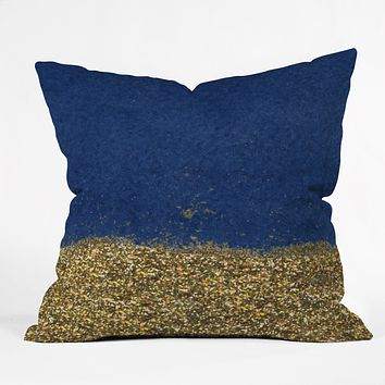 Social Proper Dipped in Gold Navy Throw Pillow