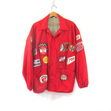 vintage 80s patchwork RACE CAR jacket. Daytona Speedway. Nascar. Talladega patches