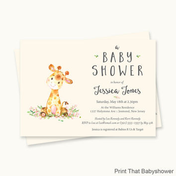 Giraffe Baby Shower Invitations - Giraffe Baby Shower - Printable Invitation - Giraffe Baby Shower Invites - Giraffe Invitation