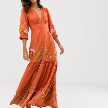 ASOS DESIGN plunge neck maxi dress with border embroidery | ASOS