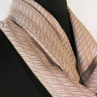 Bamboo and Silk Cocoa and Cream Loom Woven Scarf