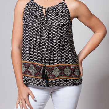 Black Scarf Print Top