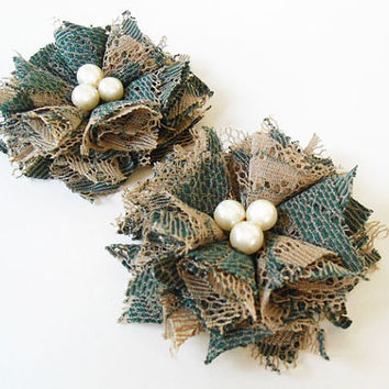Green Lace Flower Hair Clips with Ivory Cream Pearl Beads Hair Accessories for Girl, Women, Bridesmaid, Gift