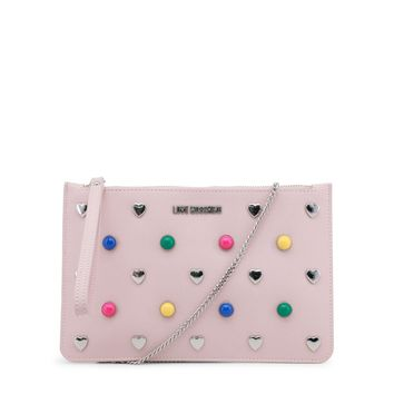 Love Moschino Pink Strap Shoulder Leather Clutch