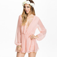 Pink Long Sleeve Chiffon V-Neck Romper with Ruffles