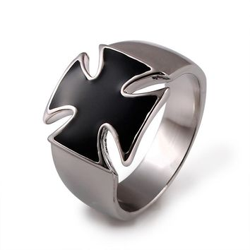 Ajojewel Brand Size 5.5-11 Fashion Jewelry Vintage Cool Classic 18K White Gold Plated Enamel Black Cross Ring For Men