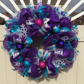 Purple Christmas Wreath - Metallic Purple Deco Mesh Wreath - Purple, Pink, Teal - Snow Flake - Holiday  / Birthday Wreath