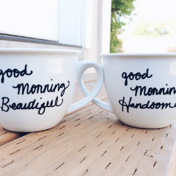 Good Morning Handsome Good Morning Beautiful Couple Love Handpainted Ceramic Coffee Mugs