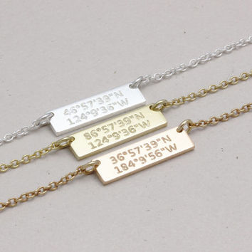 Delicate Coordinate necklace, Bridesmaid Gift, Engraved Jewelry, personalized Jewelry