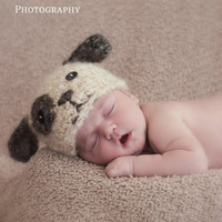 Newborn Crochet Fuzzy Mohair Puppy Dog Hat - Made to Order