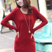 Solid Color Round Collar Long Sleeve Sweater Dress