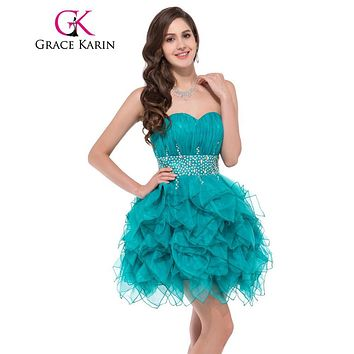 Robe de cocktail Grace Karin Emerald Green Cocktail Dresses 2017 Sweetheart Ball Gown Short Special Occasion Dress 6177