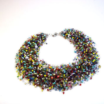 FREE SHIPPING. Black milti colored glass seed beads crocket necklace, assorted beads necklace,